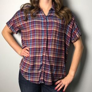 Lucky Brand Short Sleeve Plaid Button Down